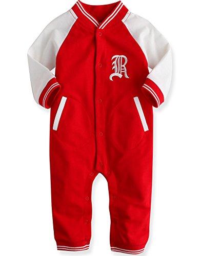 Vaenait Baby 80-92 Maedchen Infant Hooded Fruehling Jumpsuit Rompers Baby Raglan RL Red 18-24M