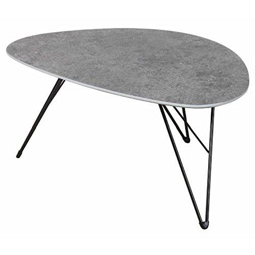MASSA Table basse style scandinave en métal noir et plateau MDF décor béton - L 90 x l 60 cm