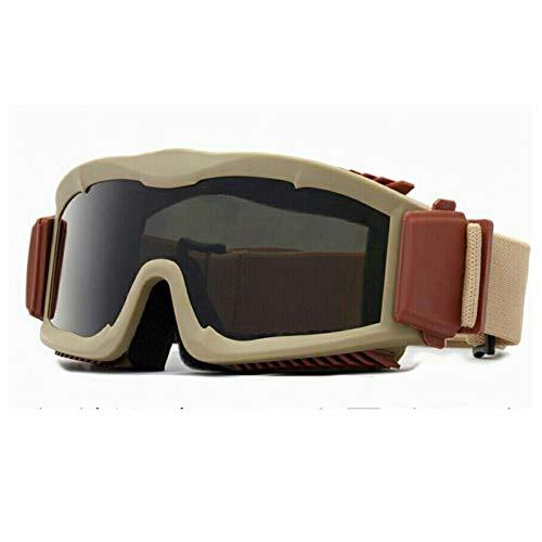 ZKAMUYLC SonnenbrilleMotorradbrille 3-Objektiv-Kit, Alpha Army Ballistic Militärische Sonnenbrille Taktische Helmbrille, BB Gun Kugelsicher