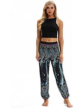 Keepwin-Pantalones Nuevo!! Mujer PantalóN Bombacho Flores PatróN Boho Harem PantalóN Baggy Yoga