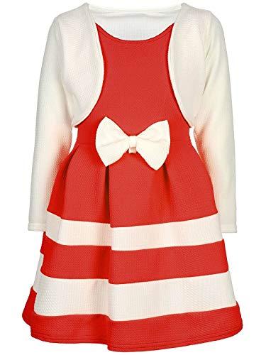 BEZLIT Mädchen-Kleid Kinder-Kleider Spitze Winter-Kleid Fest-Kleid Lang-Arm Kostüm 30003 Weiß-Rot - Oster Kostüm