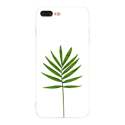 Vanki® Coque iPhone 7 Plus, Motif de feuille verte Ultra transparente silicone en gel TPU souple Coque de Bumper et Anti Scratch Shock Absorption for iPhone 7 Plus 9