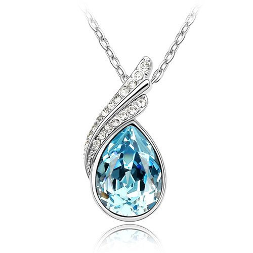 - 413mOG5212L - Laskey Swarovski Elements Sparkling Ladies Blue Teardrop Austrian Crystal Necklace Christmas Sale Deal