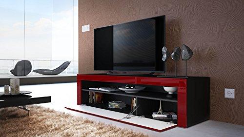 tv board lowboard valencia korpus in schwarz matt front in schwarz hochglanz mit rahmen in. Black Bedroom Furniture Sets. Home Design Ideas