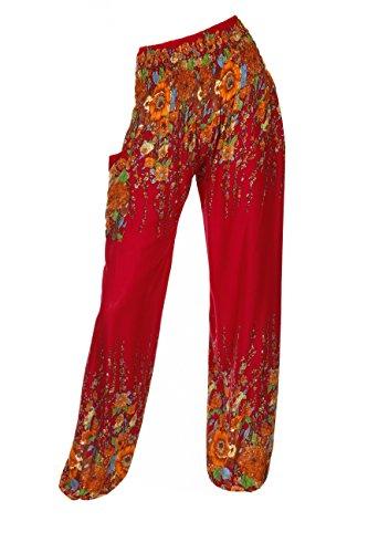 ThaiUK Damen Hose Rot Floral Red Floral Cotton-hose