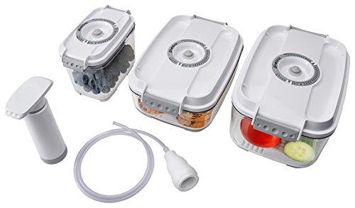 Steba 93 17 00 3er Set Vakuumier-Behälter inklusive Handpumpe, Weiß