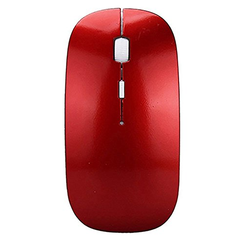 Gemini _ Mall® Kabellose Maus, 2,4G Slim Silent Click USB Mäuse Symmetrische Optische Notebook PC Computer schnurlose Maus Mini mit Nano Empfänger für Windows7/8/10/XP MAC vista7/8Linux MacBook rot rot