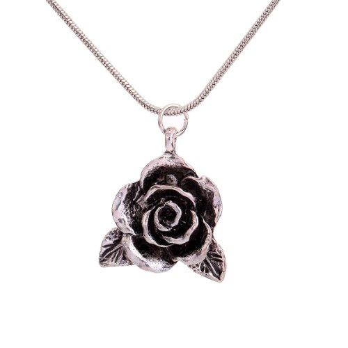 Blumen-halskette Silber (Yazilind Vintage- Schmuck Geschenk tibetischen Silber Blume Pandent Halskette Kleidung für Frauen)