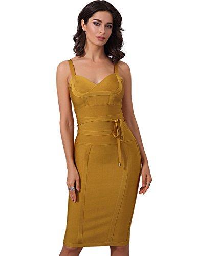 Adyce Damen-Bandage-Kleid kleid gold sexy bodycon midi f¡§1r luxus - party - chic schmeichelhaft nacht kleidergr??e s uk 46 (Kleid Nacht Party)