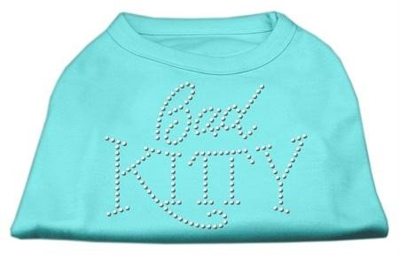Mirage Pet Products 18 Bad Kitty Rhinestud Print Shirt für Haustiere, XXL, Aqua -