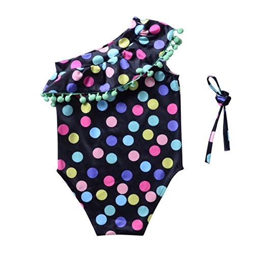 Kid One Shoulder Bikini Swimwear Bunter Polka Dot-Badeanzug - 2 Designs für Wahl, geeignet für 2-7-jährige Mädchen (Color : One-Piece Swimwear, Size : 110)