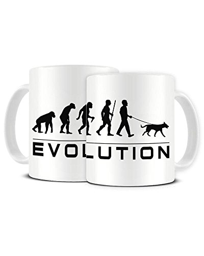 Funky NE Ltd Kaffeetasse mit Aufschrift Evolution of a Dog Walker - Staffordshire Bull Terrier Besitzer - Dog Lover - Keramik - Teetasse - tolle Geschenkidee -