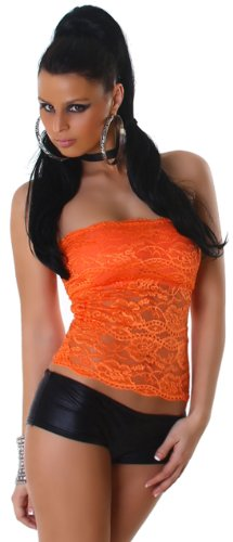 P. F. haut bandeau rembourré pour femme avec dentelle Orange - Orange