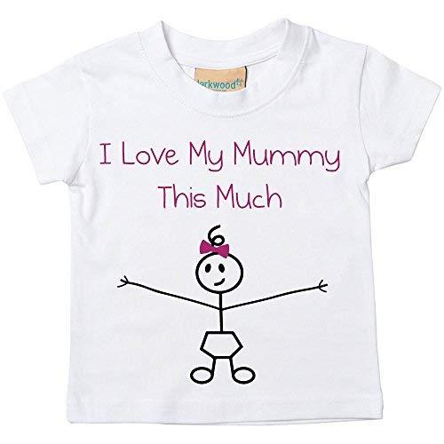 filles I Love My Mummy This Much T-shirt Bébé tout-petit enfants disponible en tailles 0-6 mois pour 14-15 ans fille Bâton personne - Blanc, 14-15 ans
