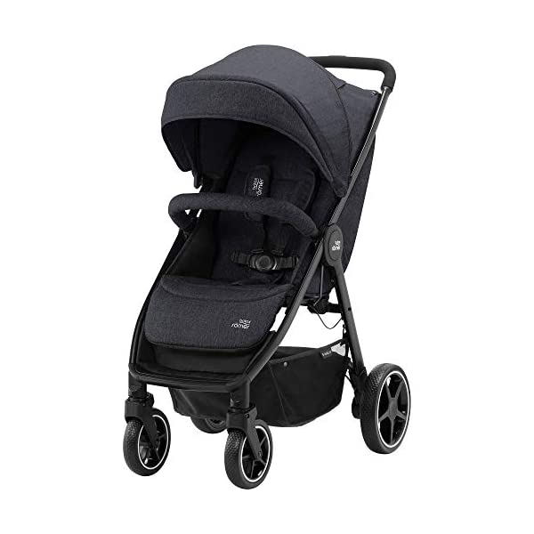 Britax Römer B-Agile M Stroller Pushchair, Birth to 4 Years (22kg), Black Shadow Britax Römer Compatible with all Britax Römer infant carriers with optional adapters as well as the Britax Römer carrycot Lie-flat backrest - suitable for a soft carrycot Large protective hood with viewing window and upf 50+ sun protection 1
