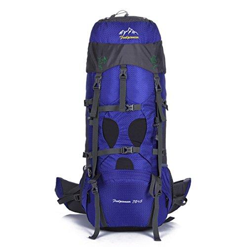Outdoor Groß Kapazität Bergsteigen Tasche Camping Rucksack 75L Blue