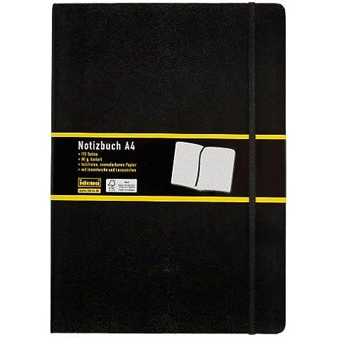 Idena 209280 - Cuaderno de notas con marcador (A4, cuadriculado), color negro