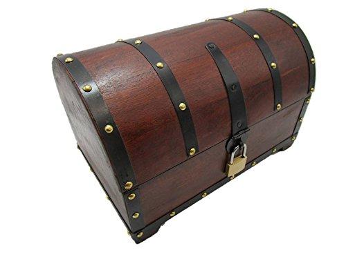 EJMS Schatzkiste Holzkiste Holzbox Truhe mit Schloss Aufbewahrungsbox Box Schatztruhe (25x15x15 cm)