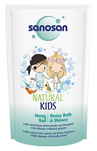 sanosan NATURAL KIDS Honigbad für Mädchen & Jungs, mildes Bad & Duschgel Kinder, 12er Pack (12 x 40 ml)