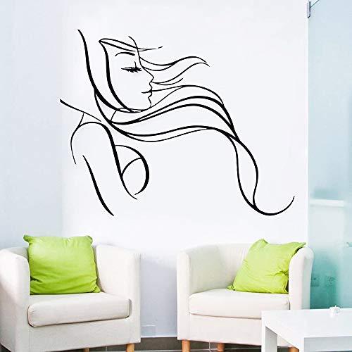 guijiumai Schönes Mädchen Mit Langen Haaren Vinyl Wandtattoos Barbershop Schönheitssalon Wandaufkleber Raumdekoration Wandbild grau 72X57 cm