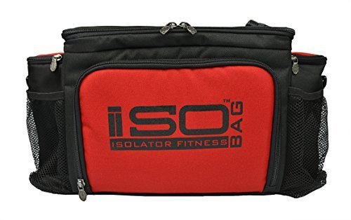 2nd Gen Isobag 6 Meal Management System/Red Accent/Black/Lunch Bag/Insulated Lunch Box-Isolator Fitness by Isolator Fitness (6 Isobag Meal-system)