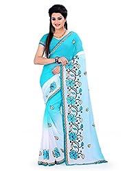 Aruna Sarees Women Faux Chiffon Saree(Golden2_Blue_Free Size)