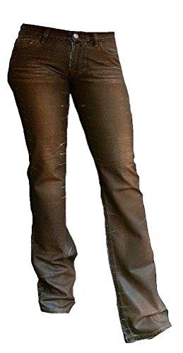 Fornarina Damen Jeans Braun Flirt Gewachst Leder Optik Used Vintage Denim Rock Star Bootcut Hose W29 L34 (Rock Denim, Leder)
