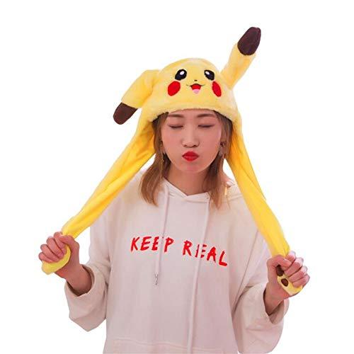 Myhonour Lustige Plüsch Tier Ohr Hut Spielzeug Pikachu mit Beweglichen Ohren Cosplay Kostüm kann Airbag Magnetkappe Plüsch Geschenke Tanz Spielzeug(2)