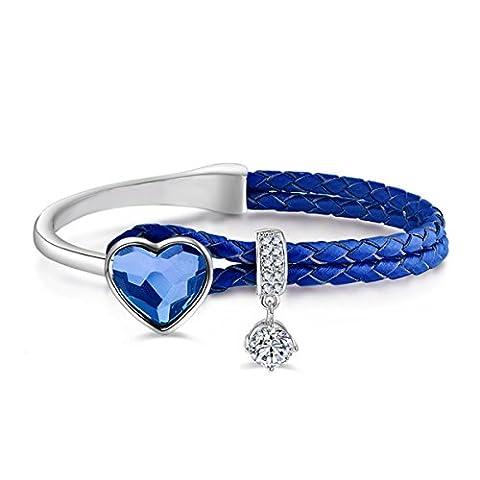 Le Premium® Cuir tressé Bracelet à corde Avec cristaux en forme de coeur De Swarovski -Denim Blue