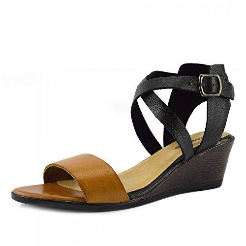 Kick Footwear - Donna Metà Tacco A Zeppa Di Cuoio Reale Estate Confortevole Casual Sandali Tan