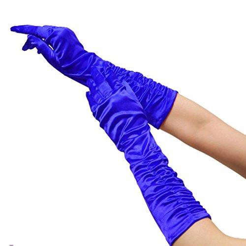 Kinder Handschuhe Ellenbogen (Damen Ellenbogen Fingerspitzen Handschuh Falte Elastischer Satin Brauthandschuhe Party Abendhandschuhe handschuhe Winter Frühling)