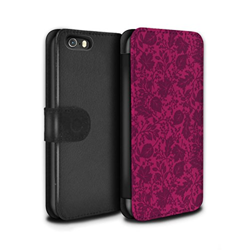 Stuff4 Coque/Etui/Housse Cuir PU Case/Cover pour Apple iPhone 5/5S / Jaune Design / Motif Feuille/Silhouette Collection Rose