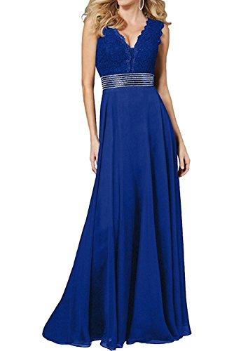 La_Marie Braut Champagner Festlich Spitze Abendkleider Chiffon Brautmutterkleider A-linie Rock lang Royal Blau