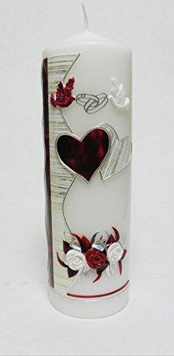ze Hochzeit Kerze Tischdekor incl. Beschriftung S-21 Bordeaux-Silber ()