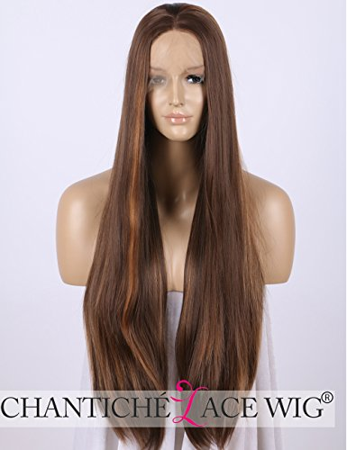 Preisvergleich Produktbild Chantiche Realistic Long Brown Wigs with Highlights Straight Synthetic Lace Front Wig for Women 24 Inches