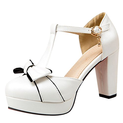 Oasap Women's Round Toe Bow Block Heels Pumps White