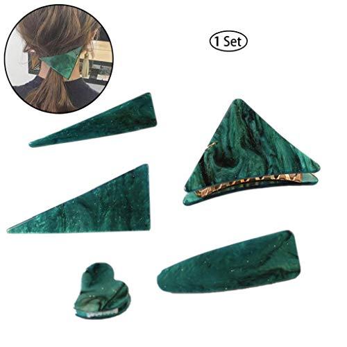 1SET Frauen-Haar-Zusatz-Weinlese Smaragd Serie Geometrisches Dreieck Haarnadeln Und Fassen Clip Persönlichkeit Temperament Haarspange