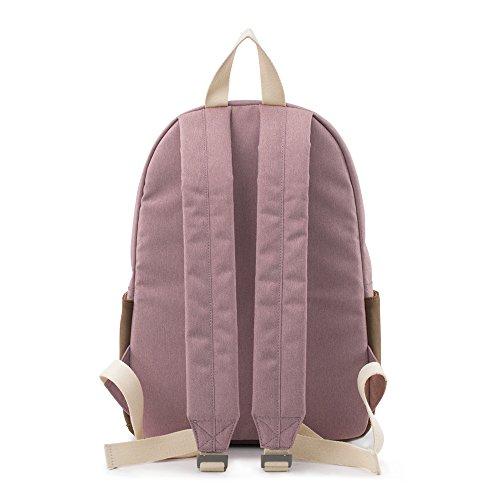Bwiv Rucksäcke Canvas Unisex Schulrucksack Vintage Schultertasche Daypack Outdoor Backpack Damen Herren Tasche für Retro Reisetaschen Lässige Rosa M Lila