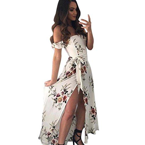 Robe Femme Moulante, Manadlian Femmes Robe Longue Boho en Mousseline de Soie Hors éPaule Robe de Plage Imprimé Floral (Blanc, XL)