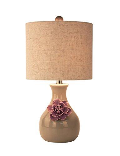 HIAPENG Keramische Tabellen-Lampe Europäische Schlafzimmer-Nachttisch-Wohnzimmer-Dekoration-Hochzeits-Tuch-Tabellen-Lampe (3 Farben wahlweise freigestellt) Energieeinsparung ( Farbe : Lila )