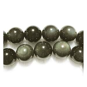 Fil De 38+ Noir/Vert Foncé Arc-En Obsidienne 10mm Perles Rond - (GS2886-4) - Charming Beads