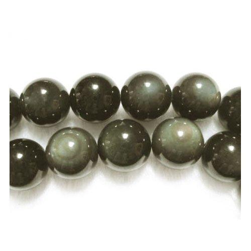 Strang 38+ Schwarz/Dunkelgrün Regenbogen Obsidian 10mm Rund Perlen - (GS2886-4) - Charming Beads (Runde Regenbogen-akzenten)