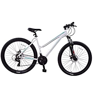 "413mXDTzG2L. SS300  - Ammaco. Team 4.0 29"" 29er Womens Ladies Mountain Bike Front Suspension 19"" Frame Step Through Alloy White/Green"