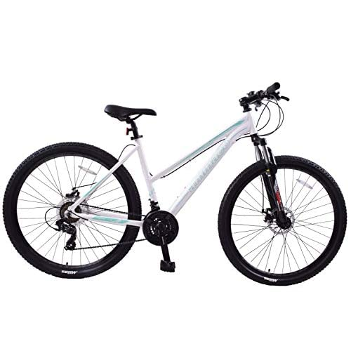 "413mXDTzG2L. SS500  - Ammaco. Team 4.0 29"" 29er Womens Ladies Mountain Bike Front Suspension 19"" Frame Step Through Alloy White/Green"