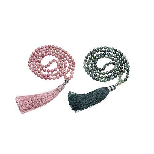 JOVIVI Yoga Schmuck 108 Perlen Gebetskette 6mm Buddha Tibetisches Geflochten Armband Wickelarmband Buddhismus Mala Kette/Rhodochrosite+Moss Achat