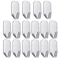 16 Pack of Self Adhesive Hooks, SMALUCK Stainless Steel 3M Adhesive Wall Hanger for Robe, Coat, Towel, Keys, Bags, Home, Kitchen, Bathroom, Water and Rust Proof