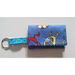 Kotbeutelspender Hundebeutel Geckos blau Handarbeit Handmade
