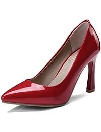 Europäische und amerikanische Frühling und Sommer Damen Schuhe bemalte Leder Tipp groß, hell, Schuhe mit hohen Absätzen, rot, 40