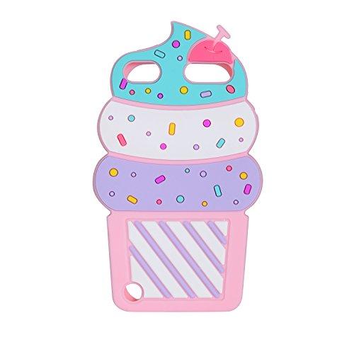 iPod Touch 6Fall, iPod Touch 5Fall, joyleop Silikon Cartoon Cherry Cupcakes Eis Kratzfest stoßfest Schutzhülle Sport für Apple iPod Touch 56. Generation, Pink Icecream