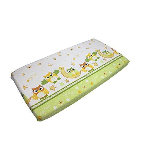 TupTam Baby Spannbetttuch mit Gummiband Gemustert ANK004, Farbe: Eulen Grün, Größe: 70 x 140 cm